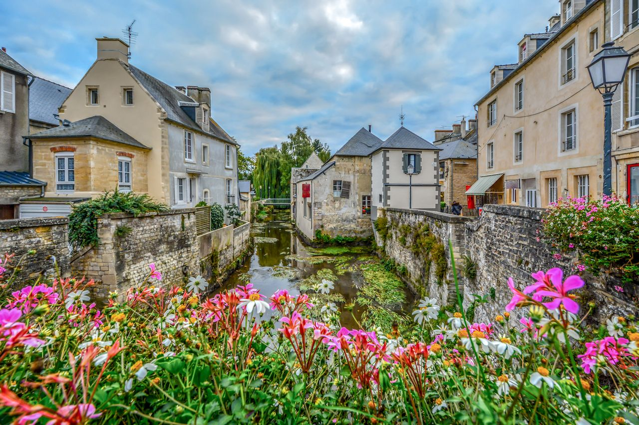 The picturesque French town of Bayeux France near the coast of Normandy