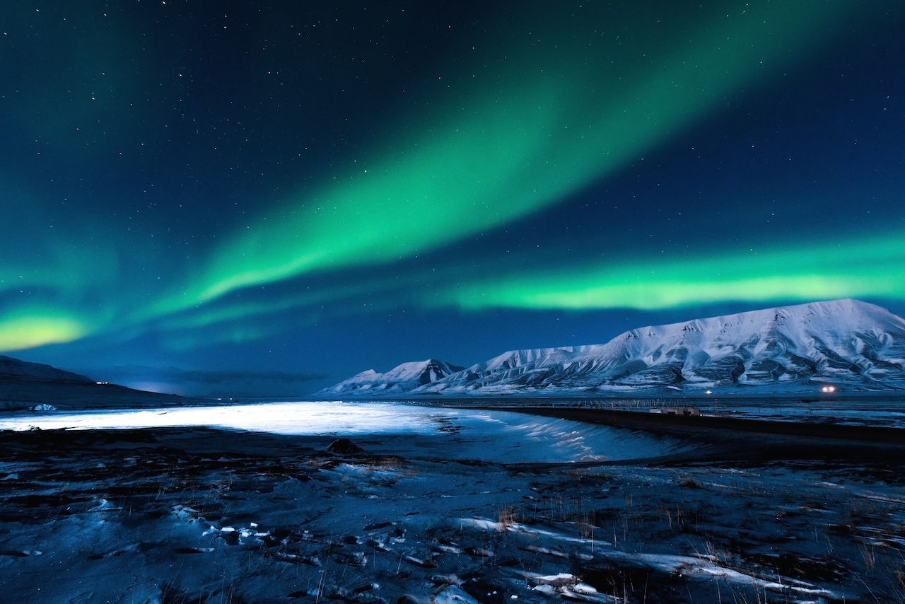The polar northern lights in Svalbard