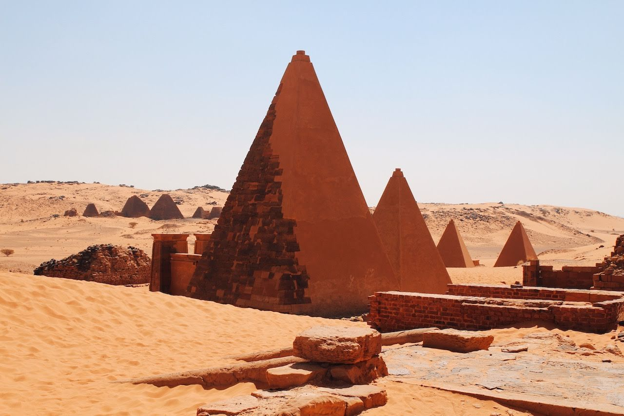 The pyramids at Meroe in Sudan