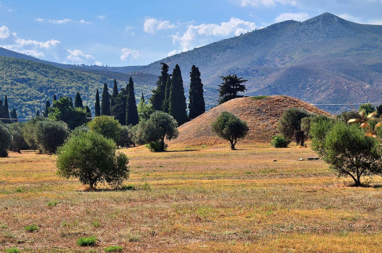 The tumulus or burial mound of the 192 Athenian fallen at the Battle of Marathon in Greece