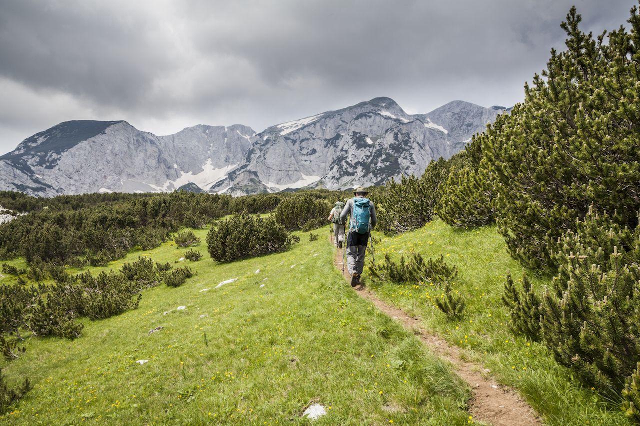 Two hikers in Sutjeska National Park, Bosnia and Herzegovina