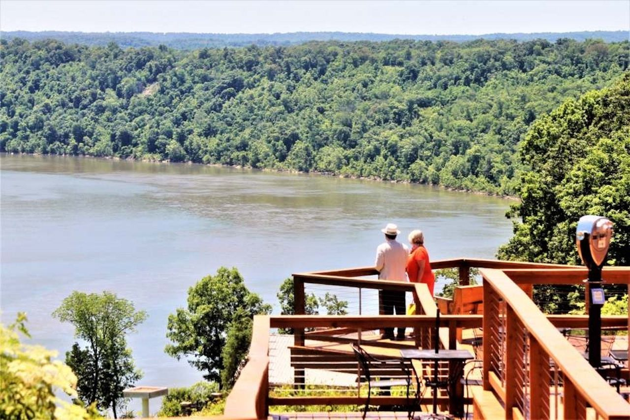 Two people looking out at the water in Indiana