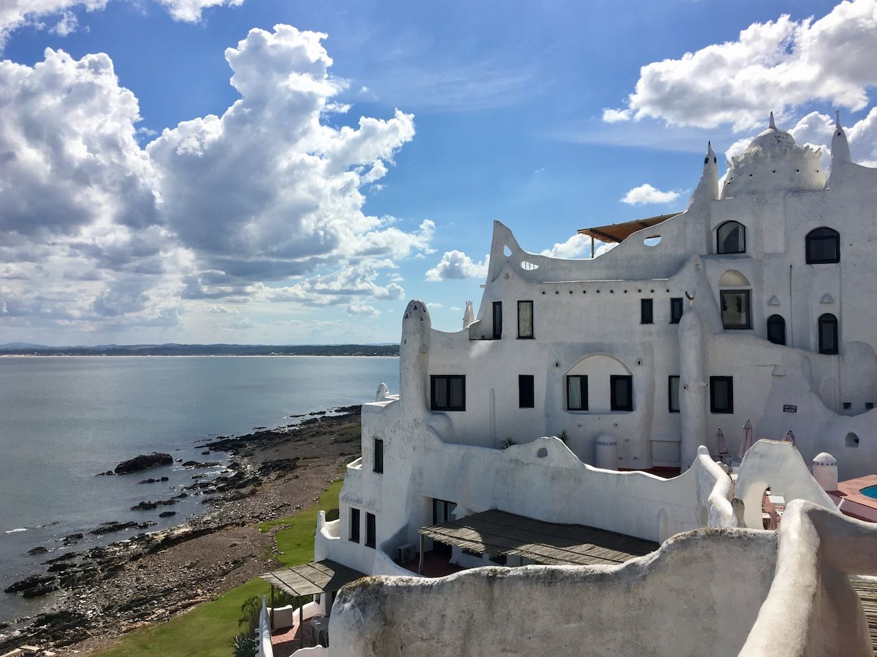 Unusual white casa pueblo building in Punta Ballena, Uruguay