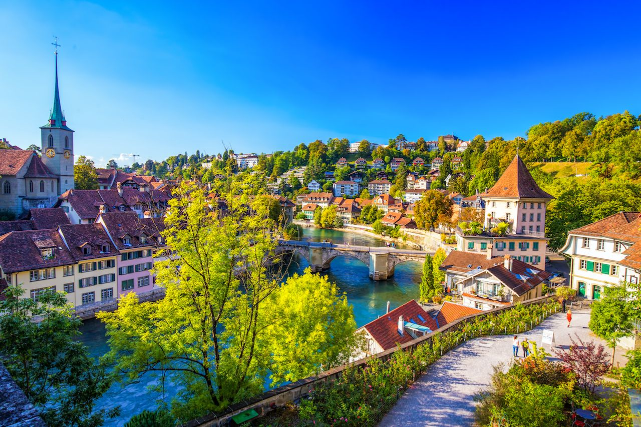 View of Bern's old city center with river Aare. Bern is the capital of Switzerland and the fourth largest city in Switzerland