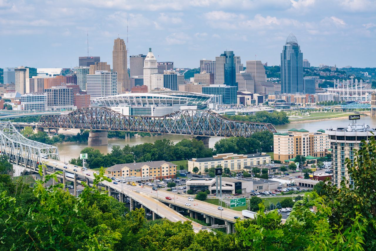 View of Cincinnati from Devou Park in Covington, Kentucky