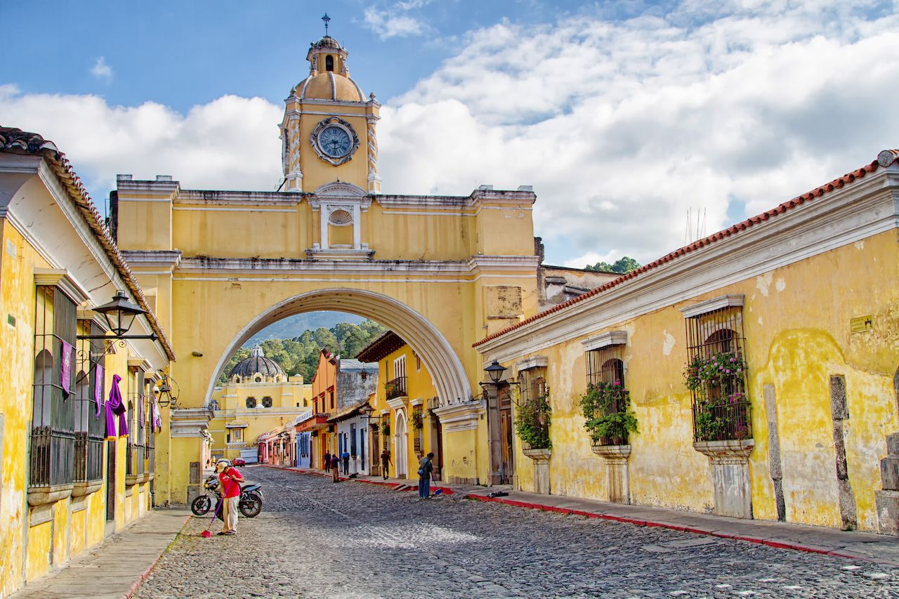 View of colonial colorful buildings in Antigua, Guatemala