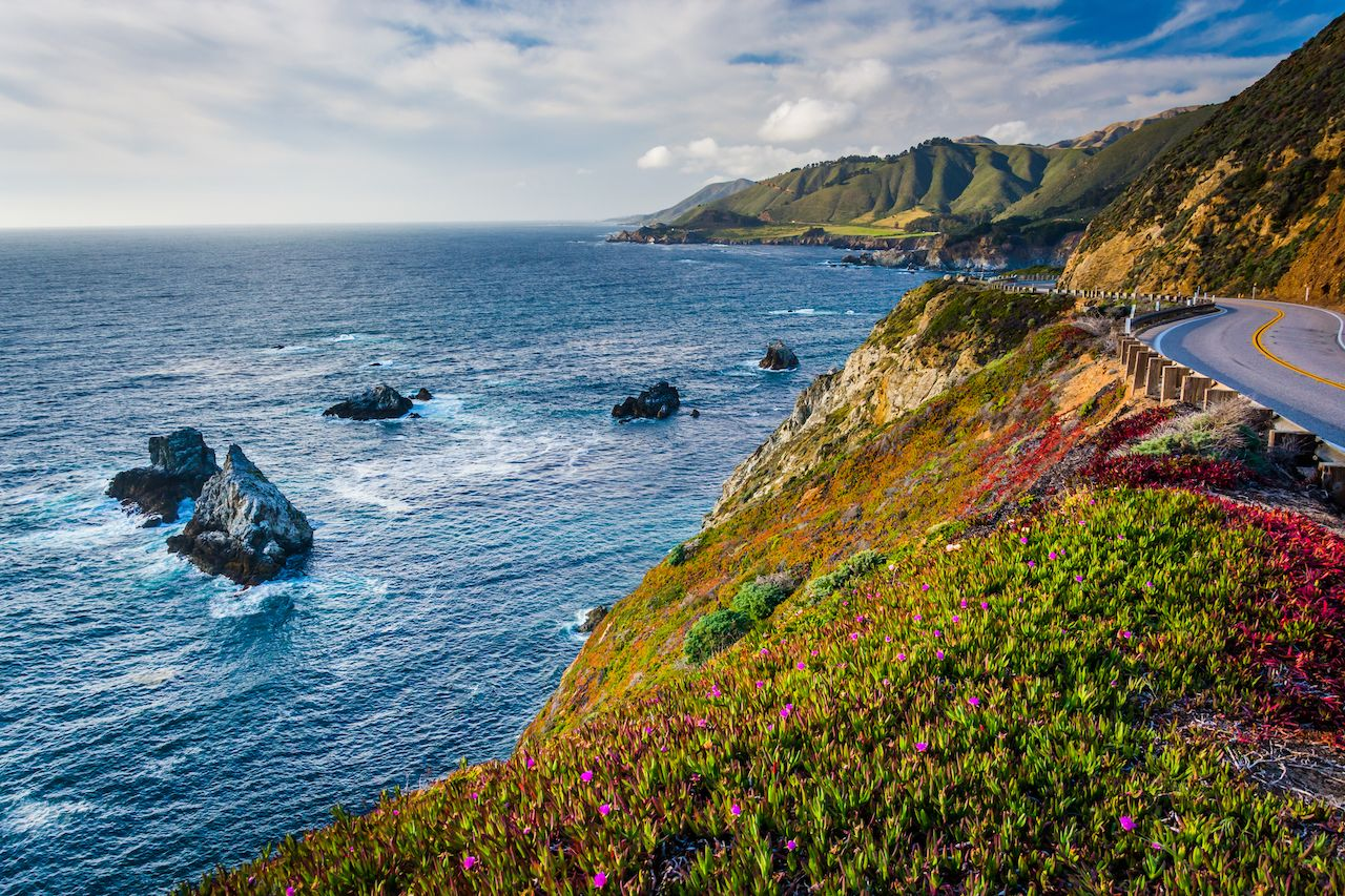View of the Pacific Ocean and Pacific Coast Highway, in Big Sur, California