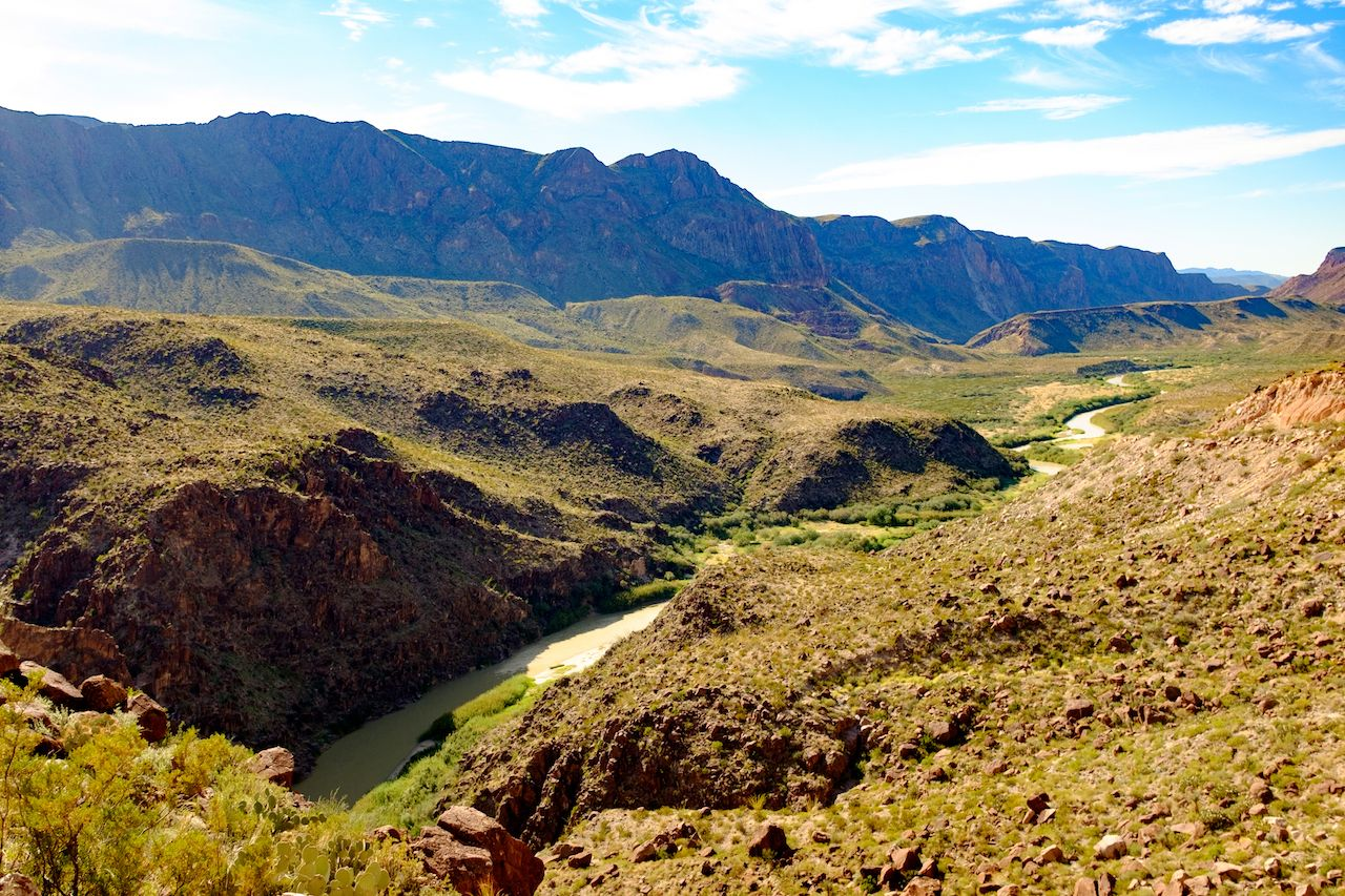 View of the Rio Grande on the border of Mexico and the United States from a lookout in Texas