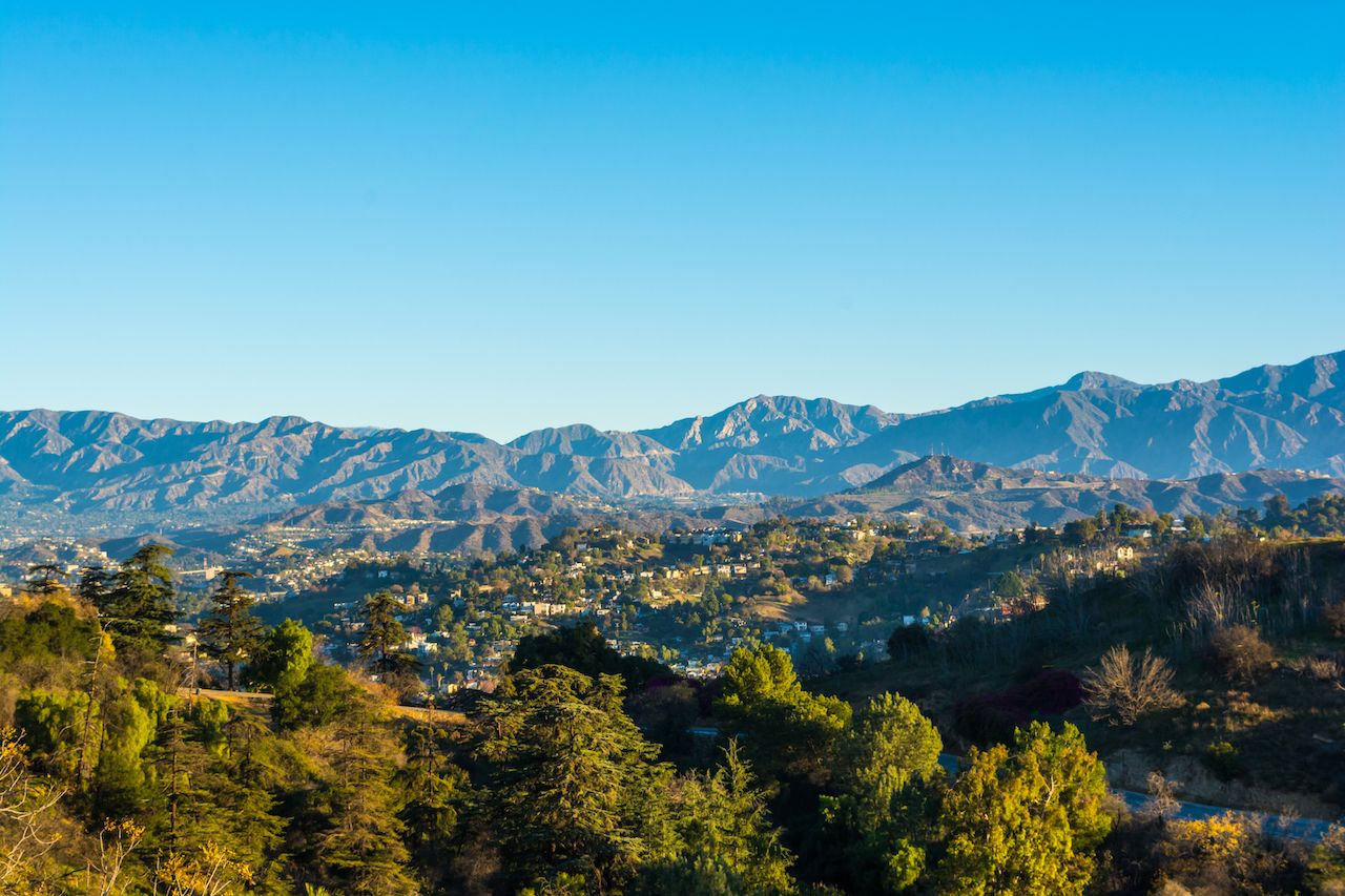 View of the San Gabriel Mountains from Elysian Park in LA