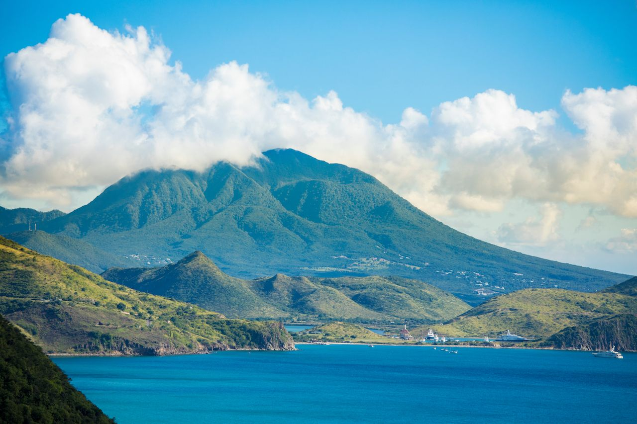 View of the island of Nevis from the South end of St Kitts in the Caribbean