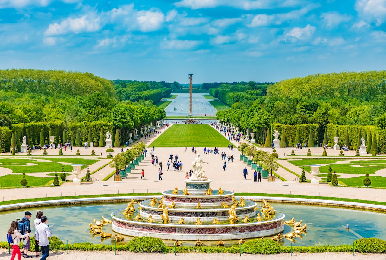 View upon leaving the palace to access the gardens at Versailles