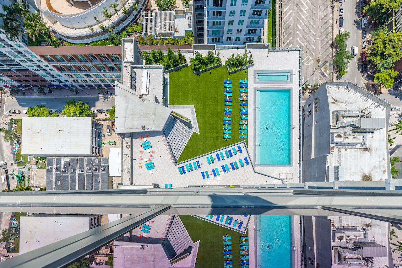 X Miami hotel aerial view with pool