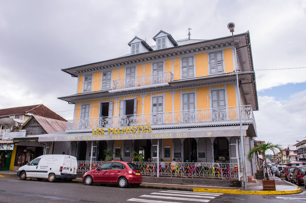 Yellow colonial building in French Guiana