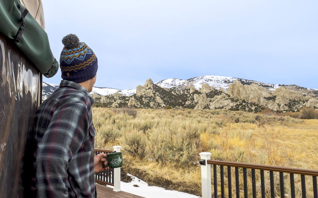 Yurt exterior Idaho winter