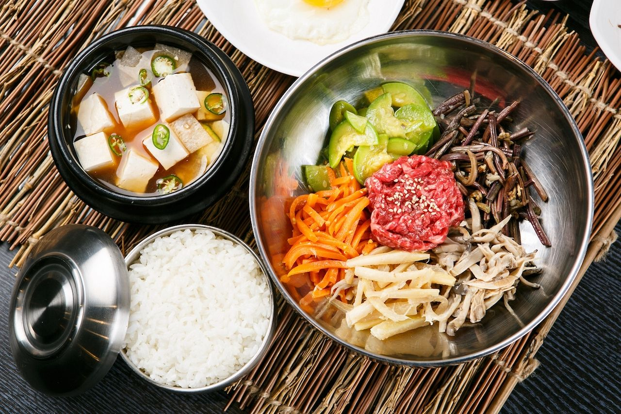 bibimbap with rice on a tatami mat