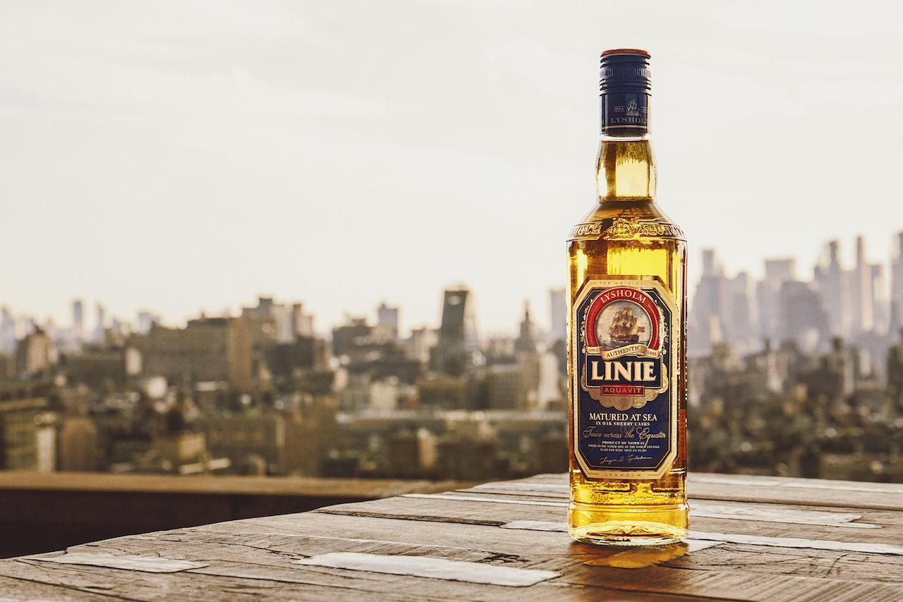 bottle of linie aquavit liquor