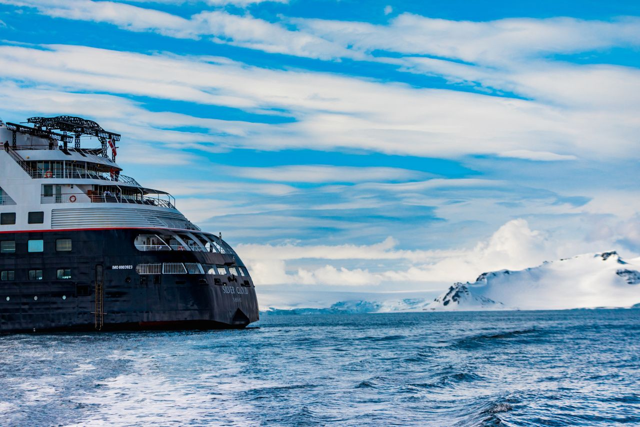 cruise ship in antarctic waters