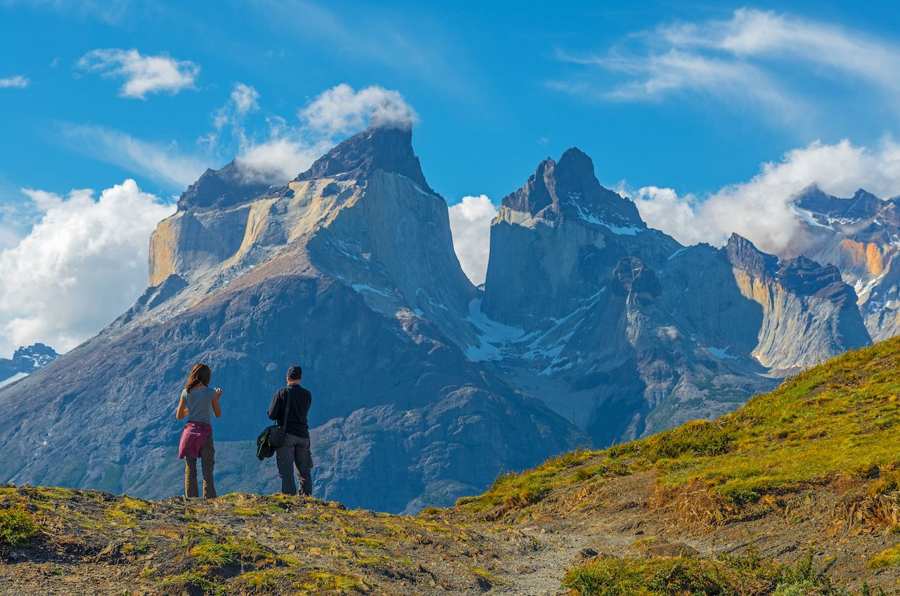 granite peaks in the Torres del Paine national park at Puerto Natales near sunset in Patagonia, Chile