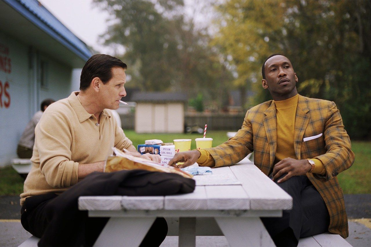 green book still frame of the two leads at a picnic table