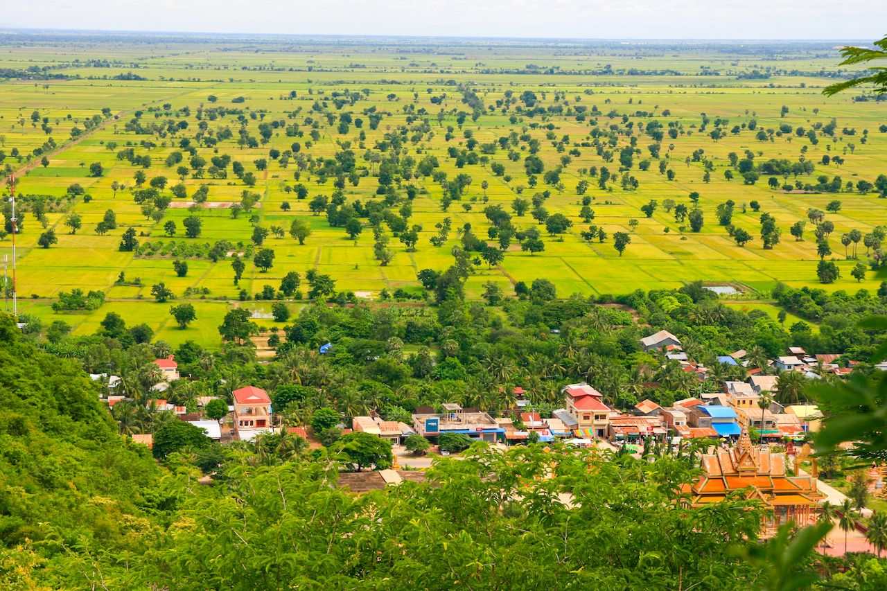 houses in the Phonm Sampeau mountains in Battambang, Cambodia