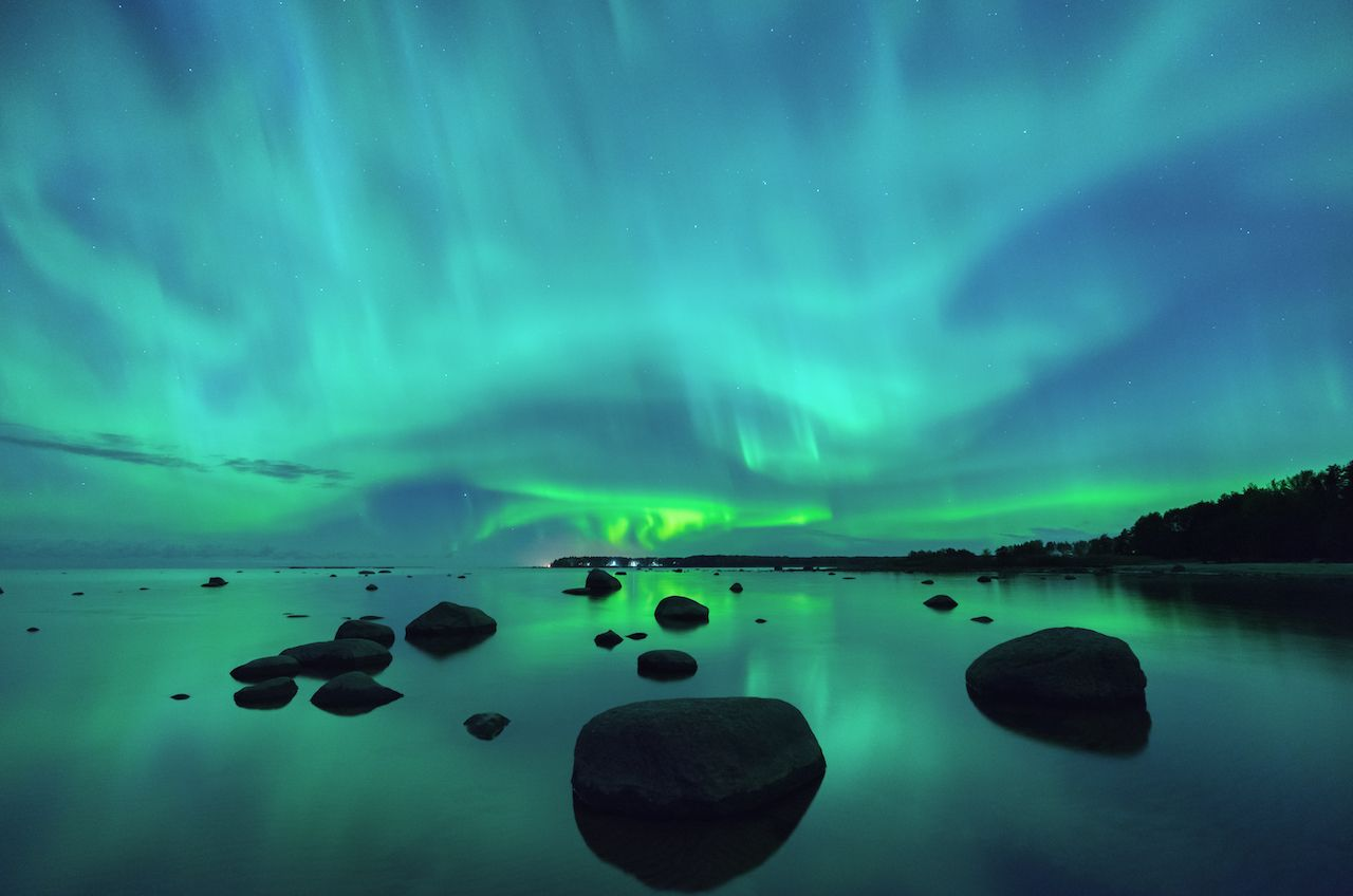 northern lights over the Gulf of Finland
