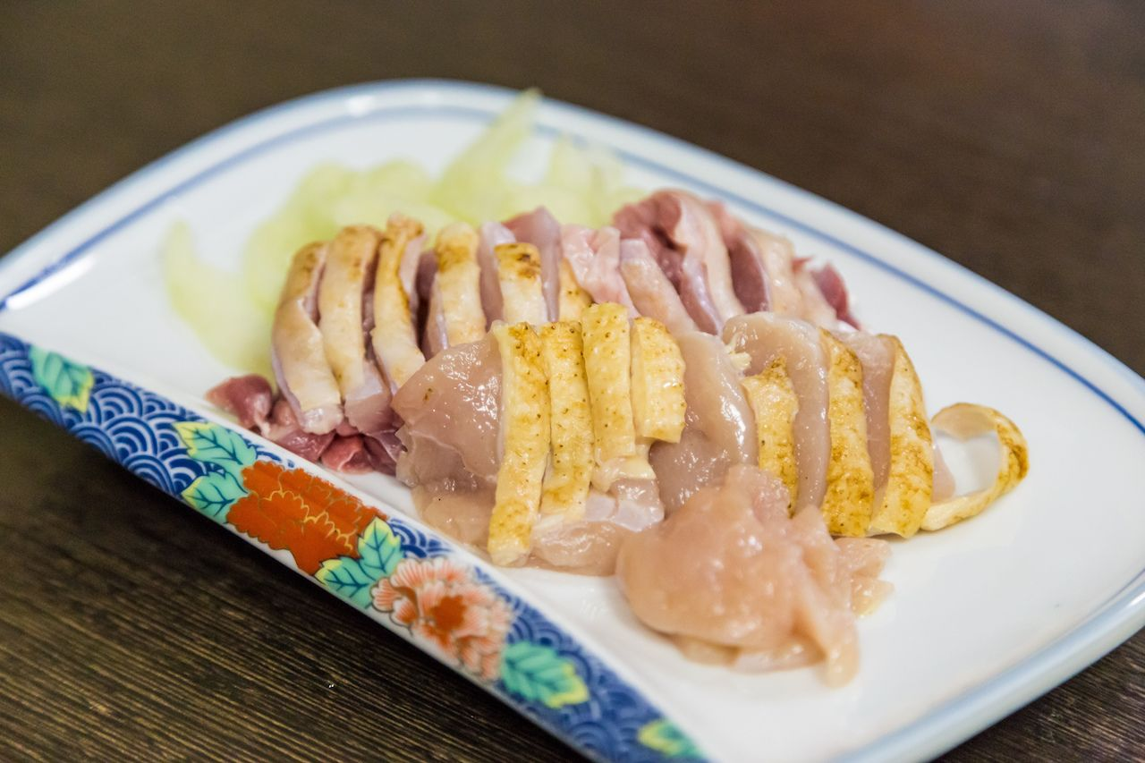 plate of traditional chicken sashimi