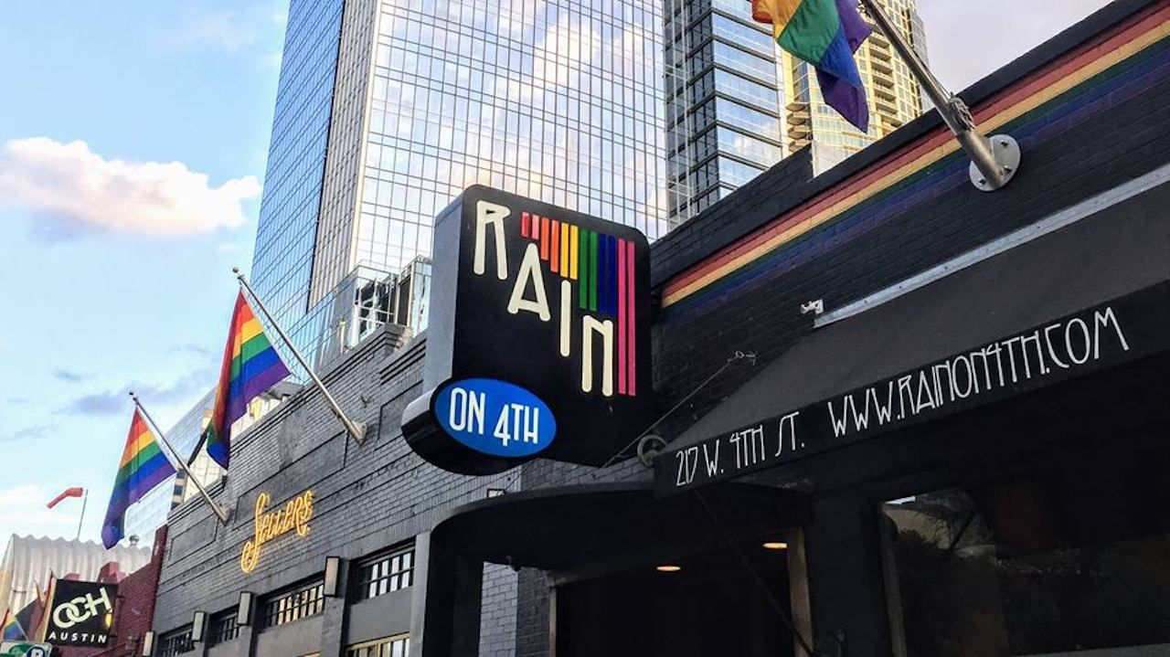 rainbow logo out front a gay bar
