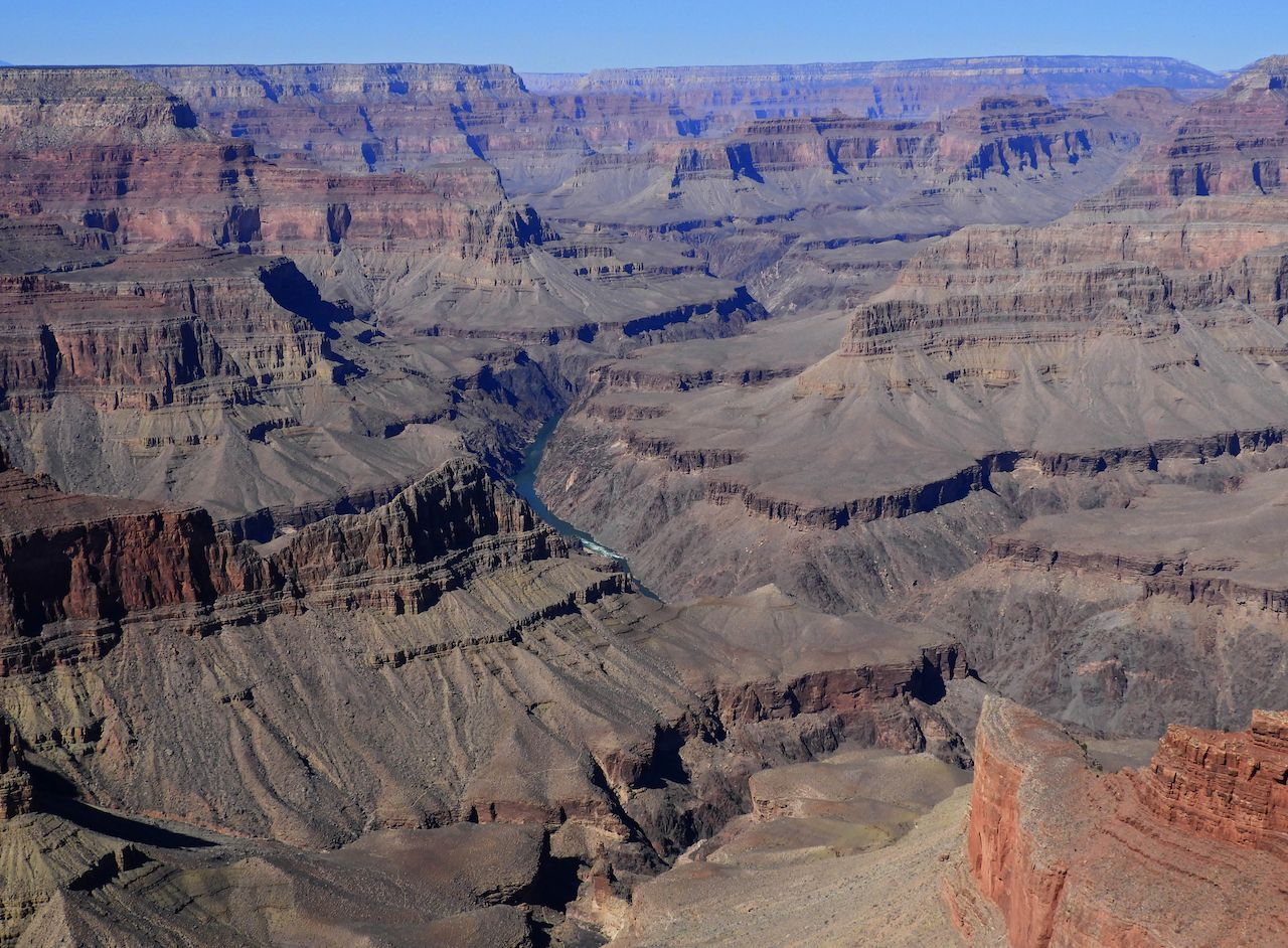 spectacular viewpoint along Hermit's roadside on the Colorado River and the South Rim of Grand Canyon in Arizona