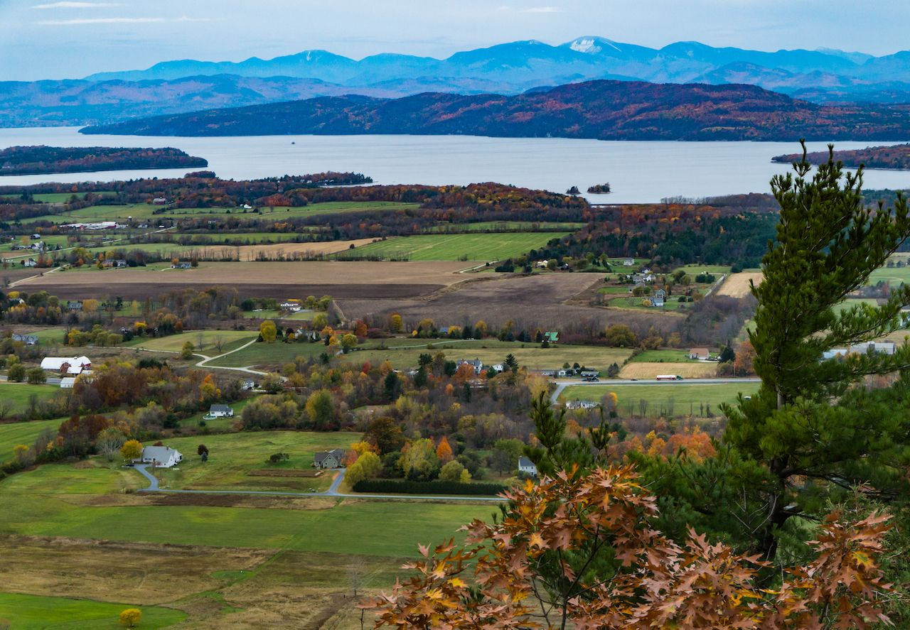 view from Mount Philo of rural Vermont farm valley in autumn