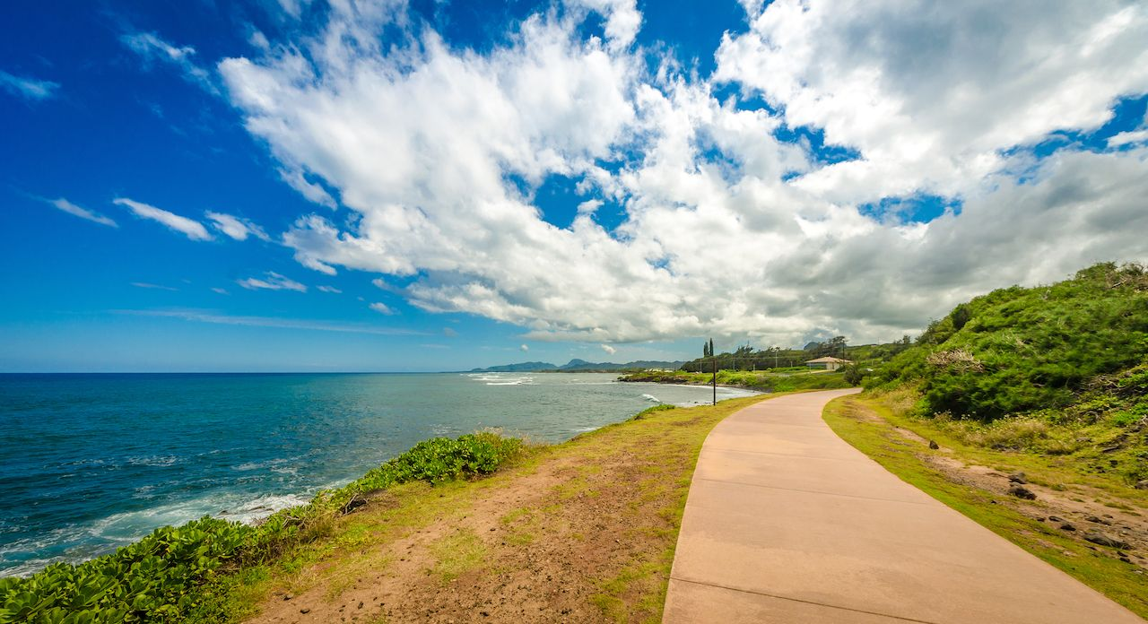 walkway along the coast in Kauai, Hawaii