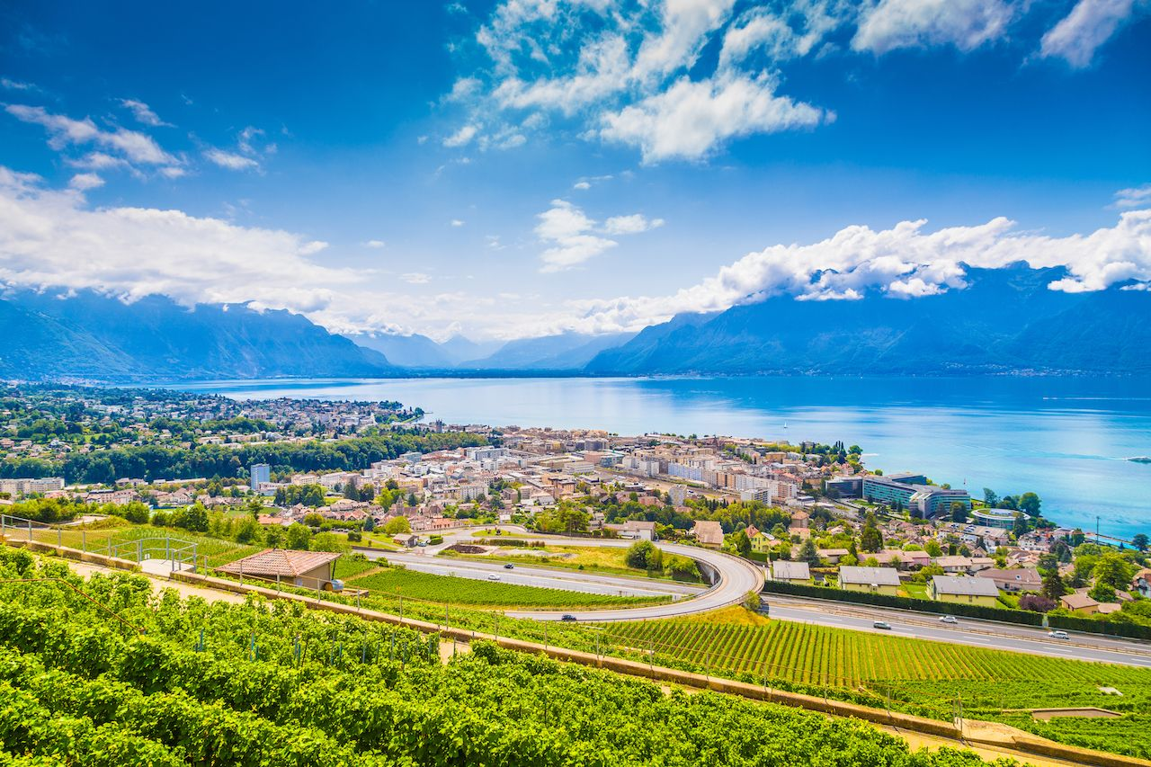 Aerial panoramic view of the city of Vevey at Lake Geneva