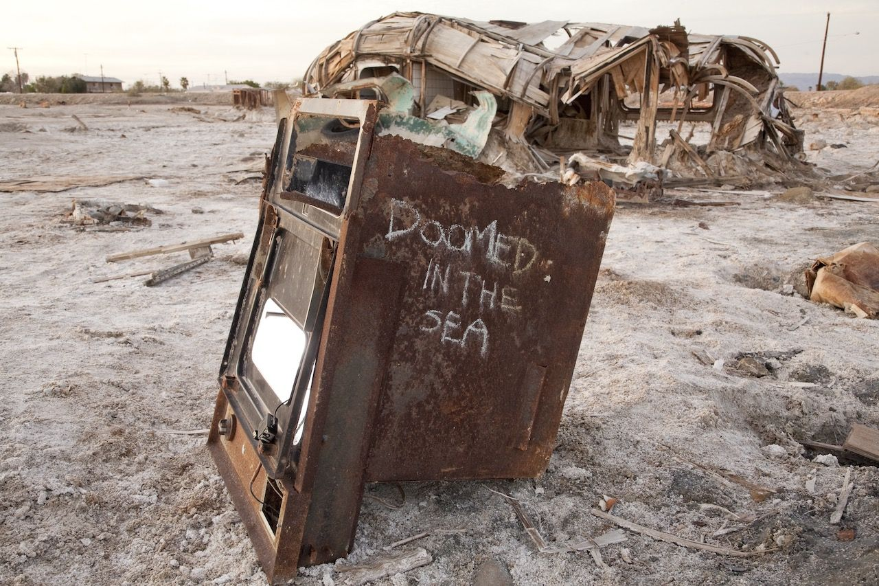 An old oven rots at the Salton Sea, California