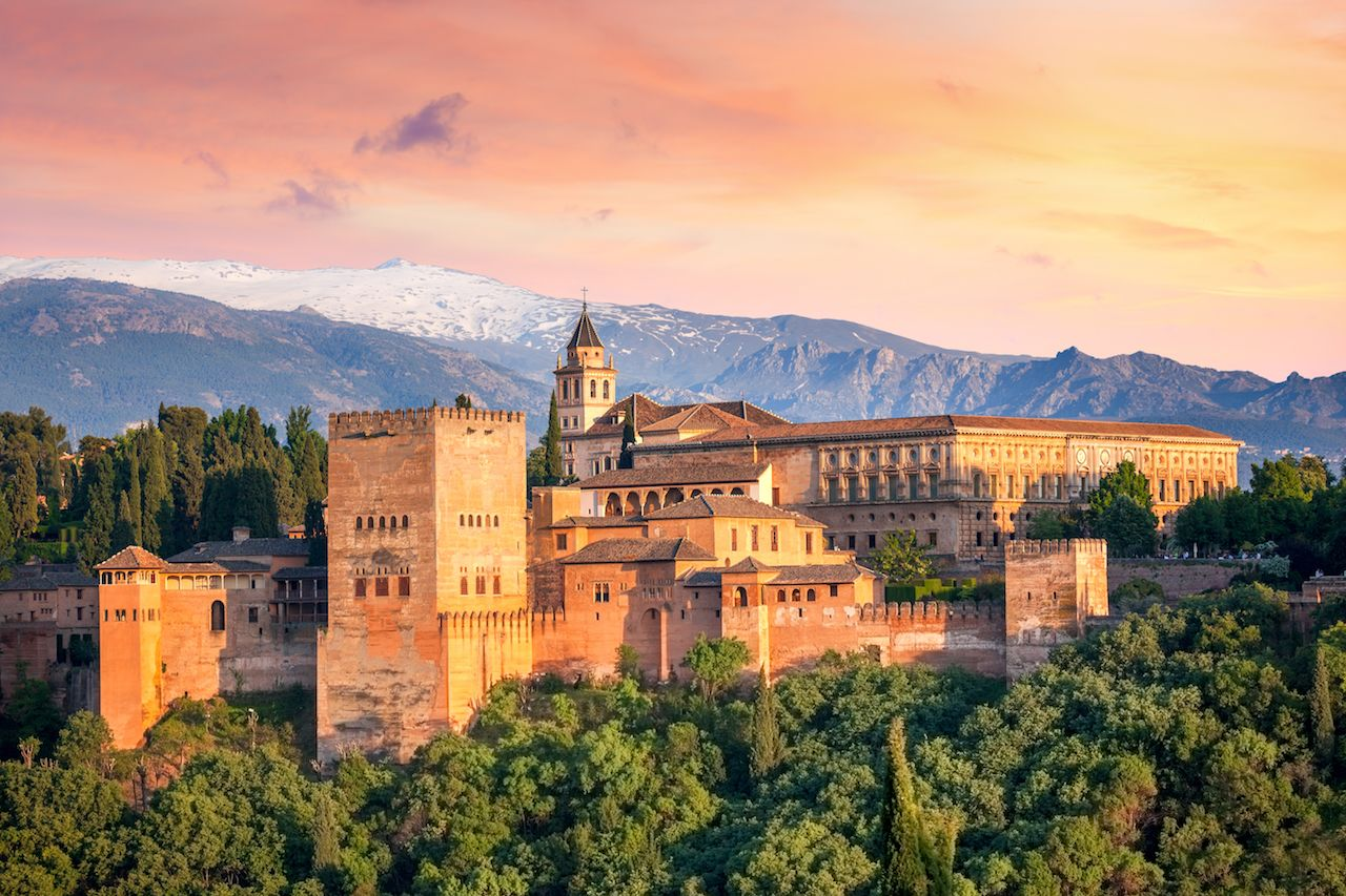 Ancient arabic fortress Alhambra at the beautiful evening time, Granada, Spain