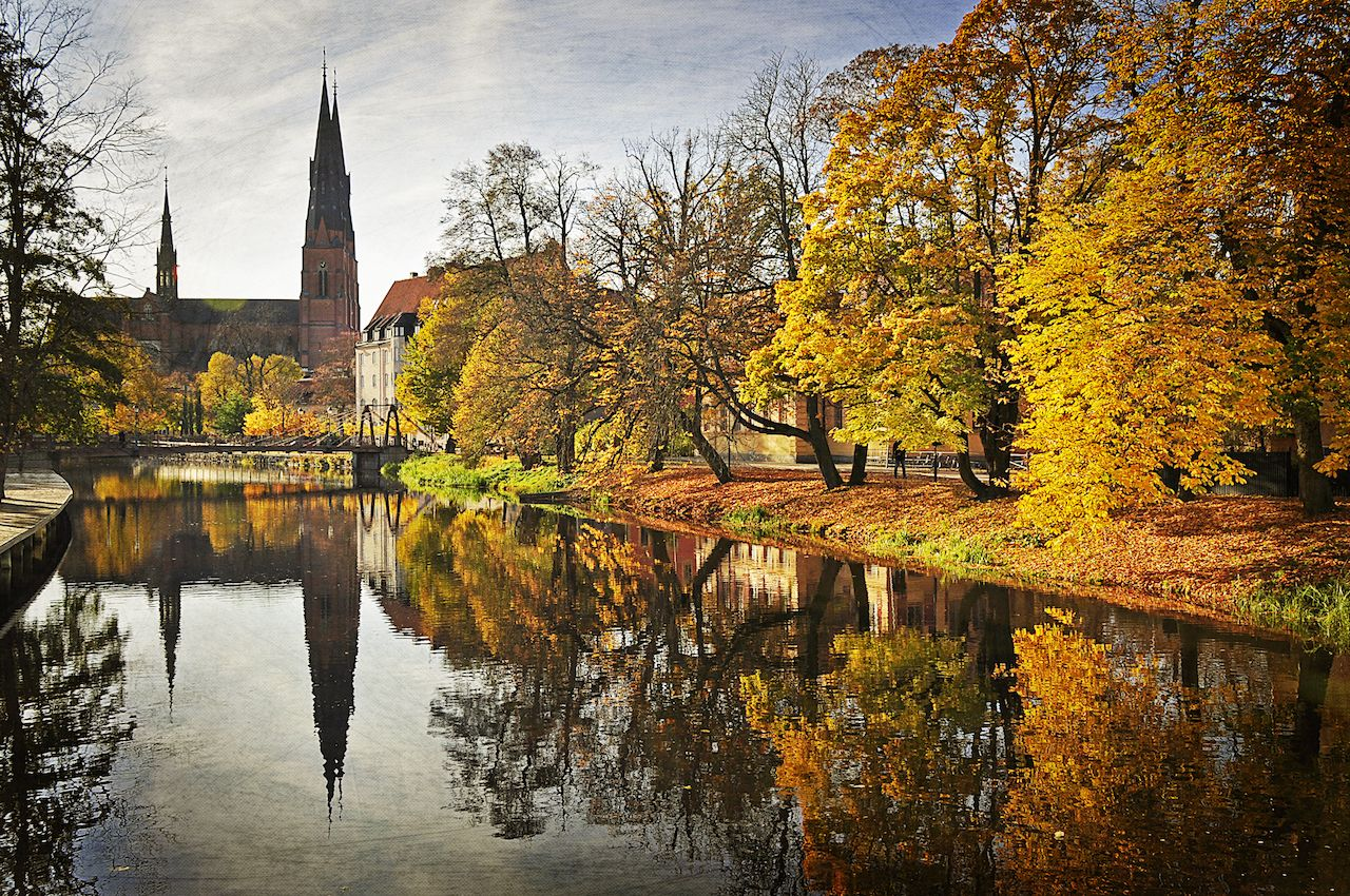 Autumn in a Swedish city