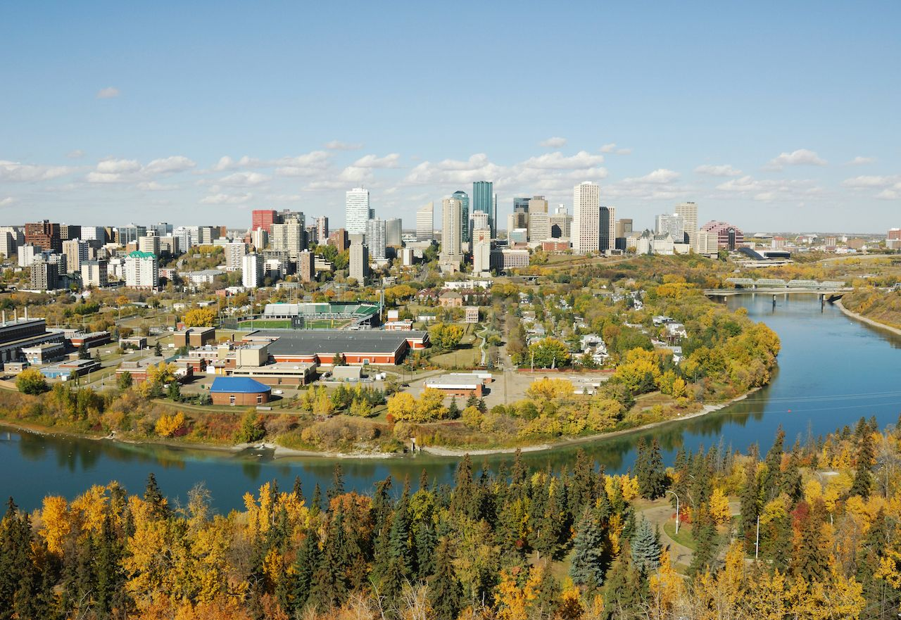 Autumn view of the North Saskatchewan River Valley and downtown Edmonton, Alberta, Canada