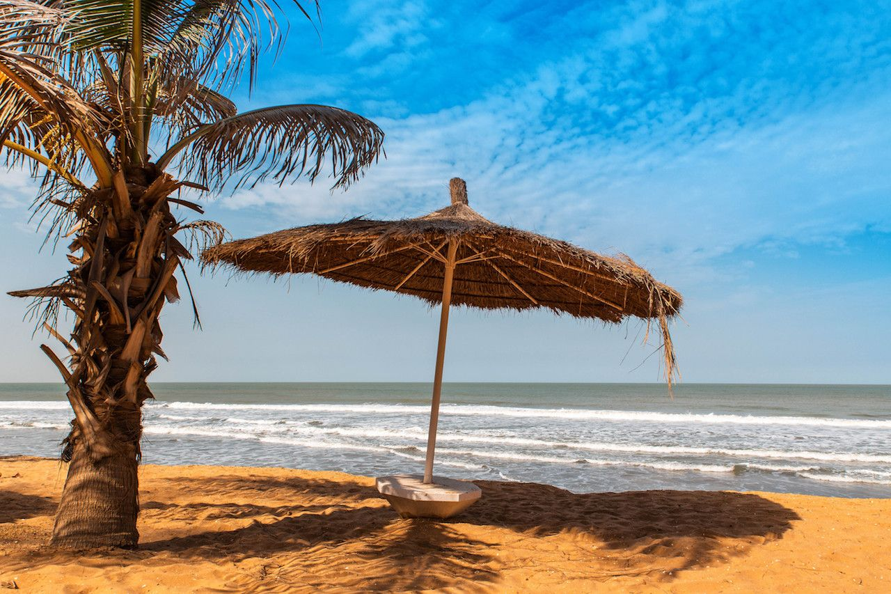 Beach umbrella on west african beach