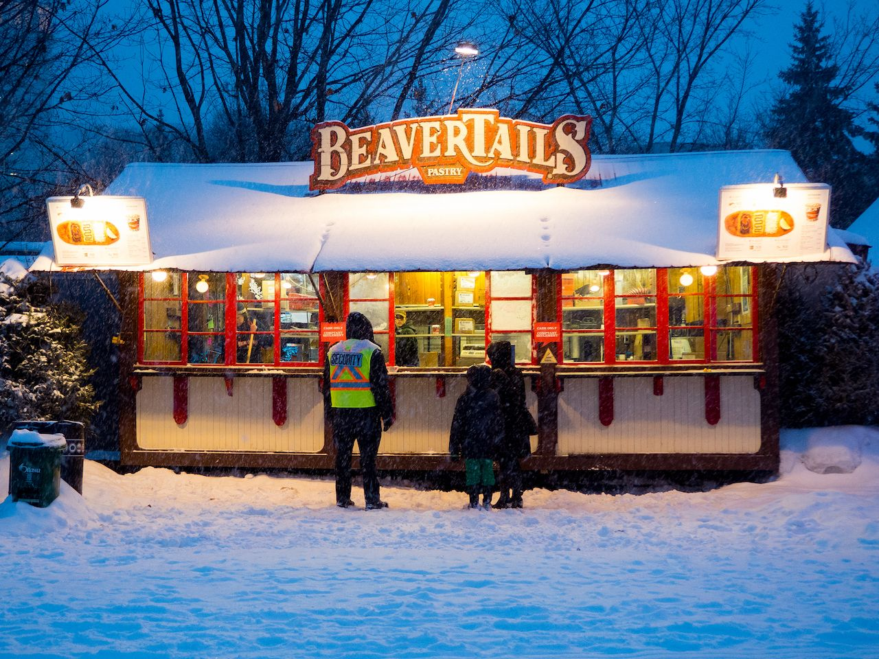 BeaverTails pastry stand in Canada during winter