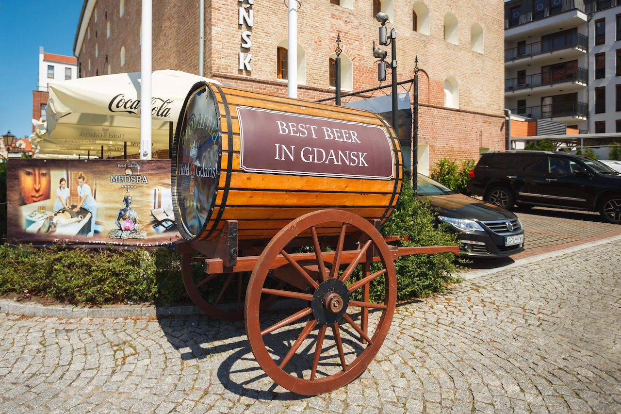 Beer barrel on wheels near the Gdansk hotel in old town
