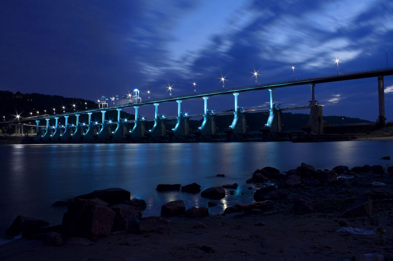 Big Dam Bridge, Arkansas, lit up at night