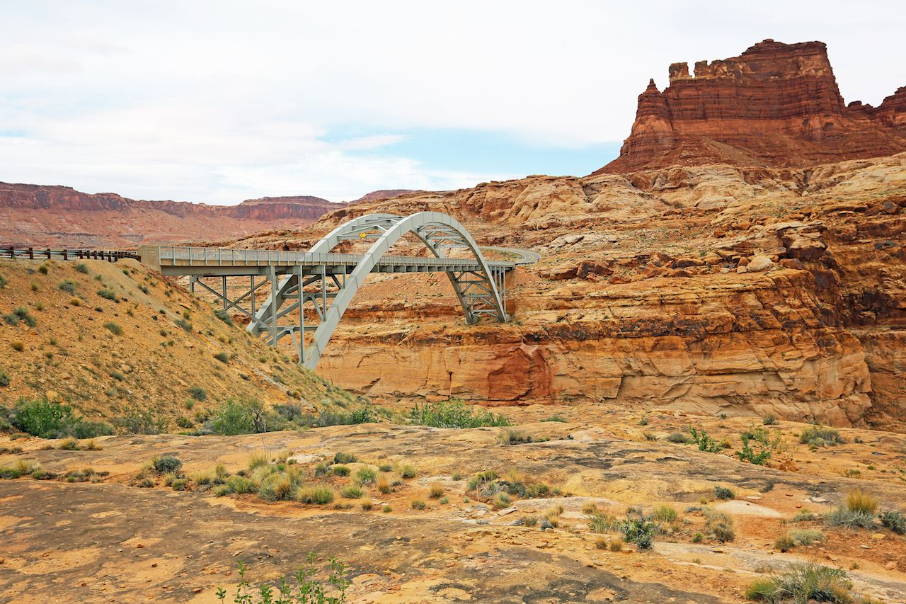 Bridge over canyon, Hite Crossing Bridge
