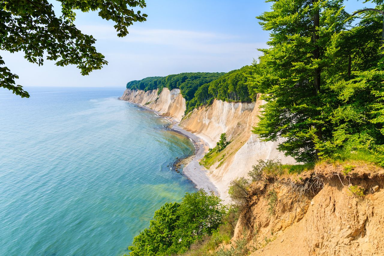 Chalk cliffs and blue sea in Ruegen Island, Baltic Sea, Germany