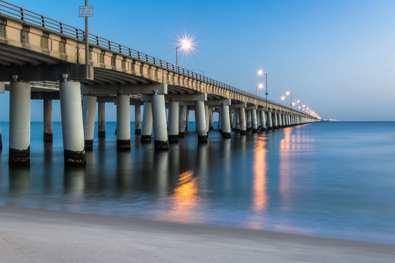 Chesapeake Bay Bridge as seen from Virginia Beach, Virginia