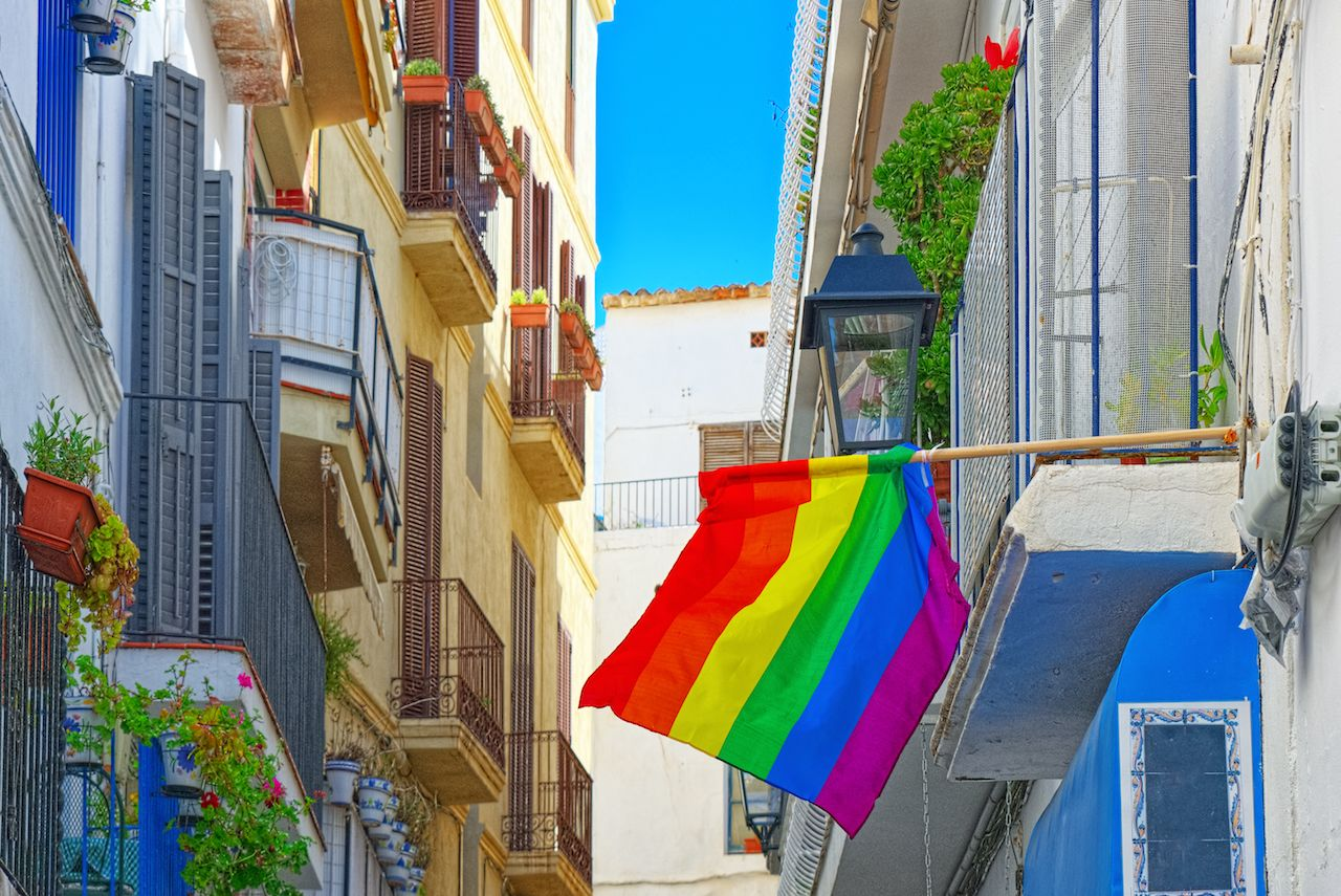 City views and gay flags on buildinds in a small town in the outskirts of Barcelona