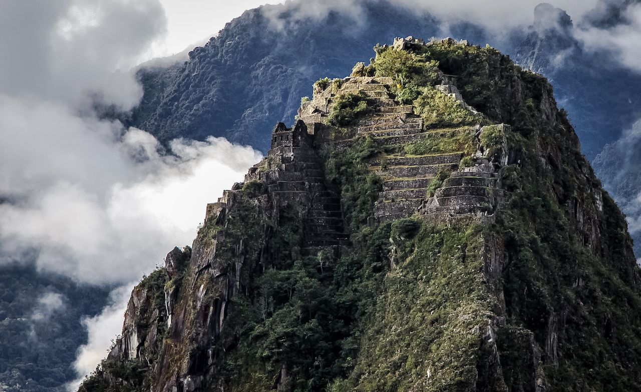 Close up view of Huayna Picchu with terraces, Machu Picchu, Peru