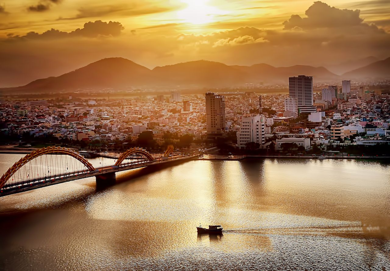 Da Nang city at sunset
