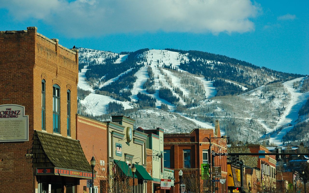 Downtown Steamboat Springs with Mt. Warner ski area in the background