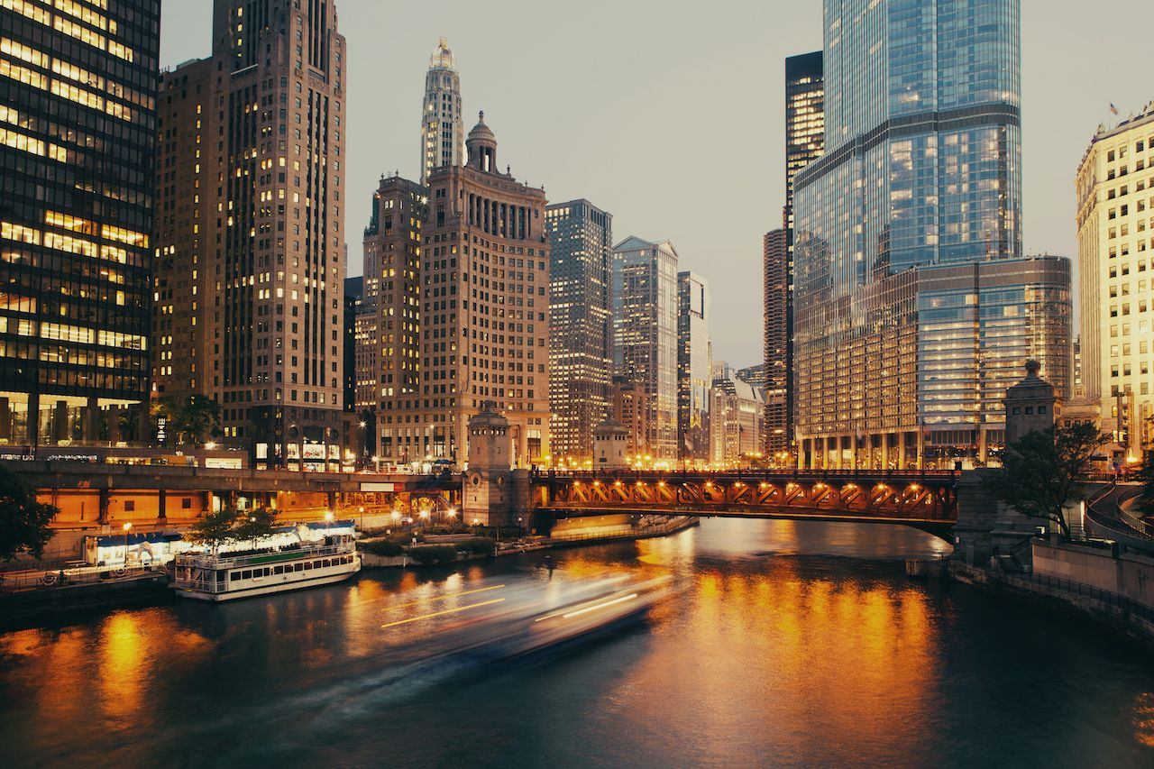 DuSable bridge at twilight, Chicago