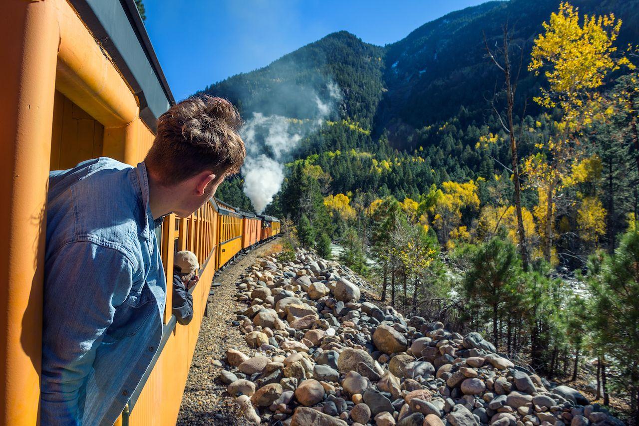 Durango to Silverton along the Animas River in Colorado, USA