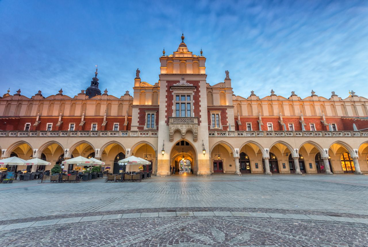 Famous Cloth Hall on Main Market Square in Krakow,