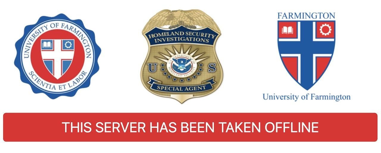University of Farmington Homeland Security scheme homepage of website